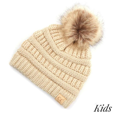 CC KIDS Classic Ribbed Knit Solid Color Beanie Hat w/ Faux Fur Pom-KIDS-43