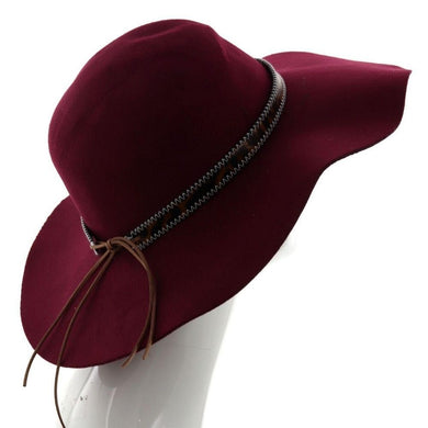 Wide Brim Felt Floppy Hat w/ Leopard Print Band - Burgundy