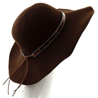 RESTOCKING-Wide Brim Felt Floppy Hat w/ Leopard Print Band - Brown