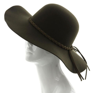 Wide Brim Felt Floppy Hat w/ Braided Band - Olive