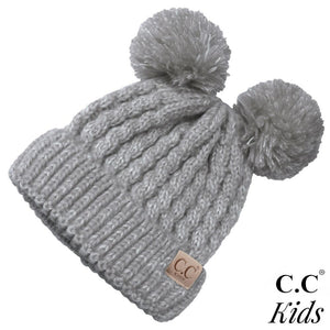 Kids CC Double Pom Multi Tone Knit Beanie - KIDS23