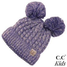 Load image into Gallery viewer, Kids CC Double Pom Multi Tone Knit Beanie - KIDS23
