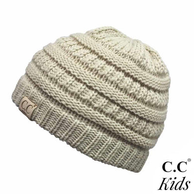 CC KIDS Classic Ribbed Knit Solid Color Beanie Hat