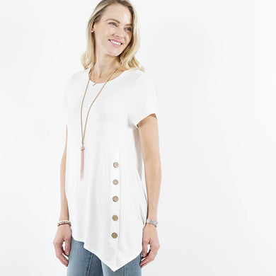Ivory Short Sleeve Asymmetrical Hem Side Button Tunic Top