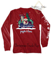 Load image into Gallery viewer, Puppie Love Christmas Truck Pup Long Sleeve Tee Shirt