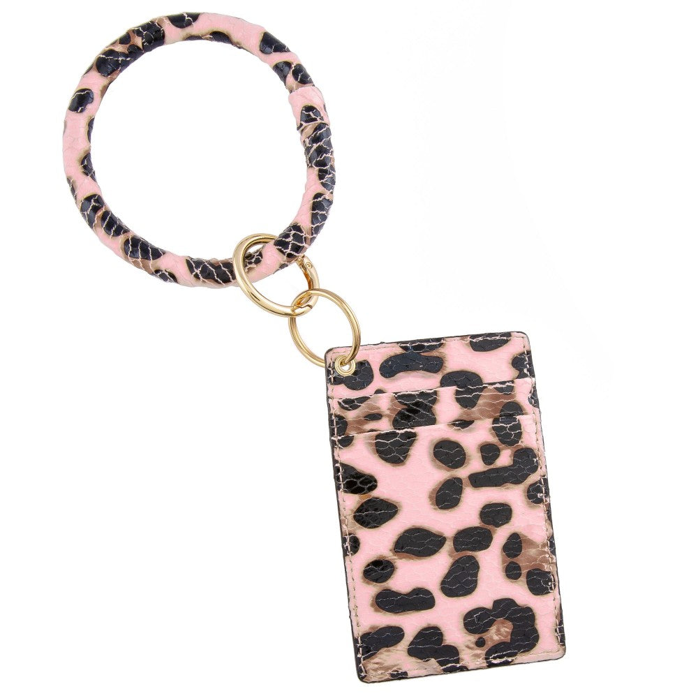 Slim Design ID/Credit Card Wallet Keyring Holder- Faux Leather Pink Animal Print