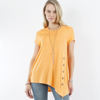 Orange Short Sleeve Asymmetrical Hem Side Button Tunic Top