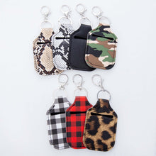 Load image into Gallery viewer, Leopard Print Key Chain Hand Sanitizer Neoprene Holder-In Stock