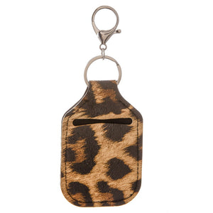 Leopard Print Key Chain Hand Sanitizer Neoprene Holder-In Stock