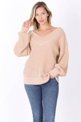 Oversized Slouchy Fit Waffle Knit V-Neck Sweater - Dusty Blush Pink
