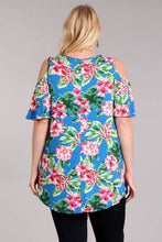 Load image into Gallery viewer, Plus Size Open Shoulder Tunic Top - Blue Tropical Floral Print (USA MADE)