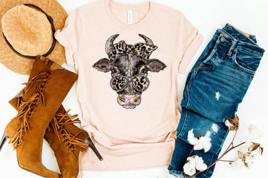 PREORDER - Cow Leopard Bandana SS Boutique Soft Tee