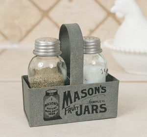 Farmhouse Mini Mason Jar Salt & Pepper Box Caddy