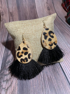 Leopard Faux Hair Teardrop Fringe Earrings - Black