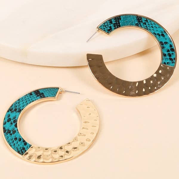 Colorful Python Snake & Hammered Metal Open Hoop Earrings - Gold/Teal
