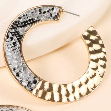 Colorful Python Snake & Hammered Metal Open Hoop Earrings - Silver/Gold