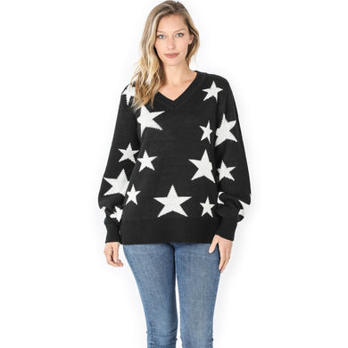 Star Pattern Black Oversized V-Neck Sweater