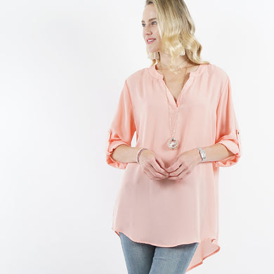Peach 3/4 Sleeve Hi-Lo V-Neck Blouse