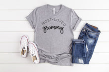 Load image into Gallery viewer, Most Loved Grammy Boutique Tee - Custom Printed Preorder Tees