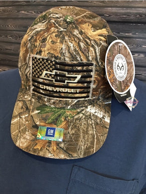 Chevy Logo Truck US American Flag Realtree® EDGE Hunting Camo Camouflage Cap Hat