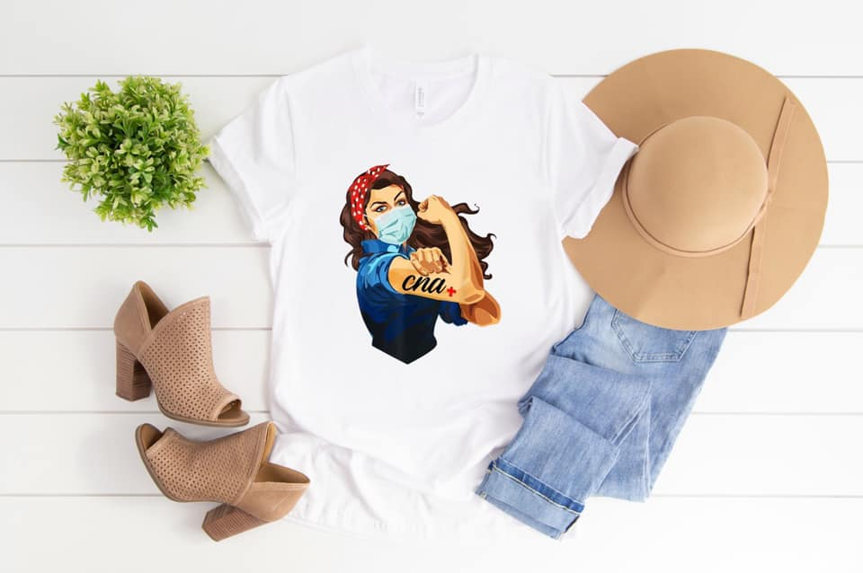 CNA Nurse Rosie White SS Boutique Tee - Custom Printed Preorder Tees