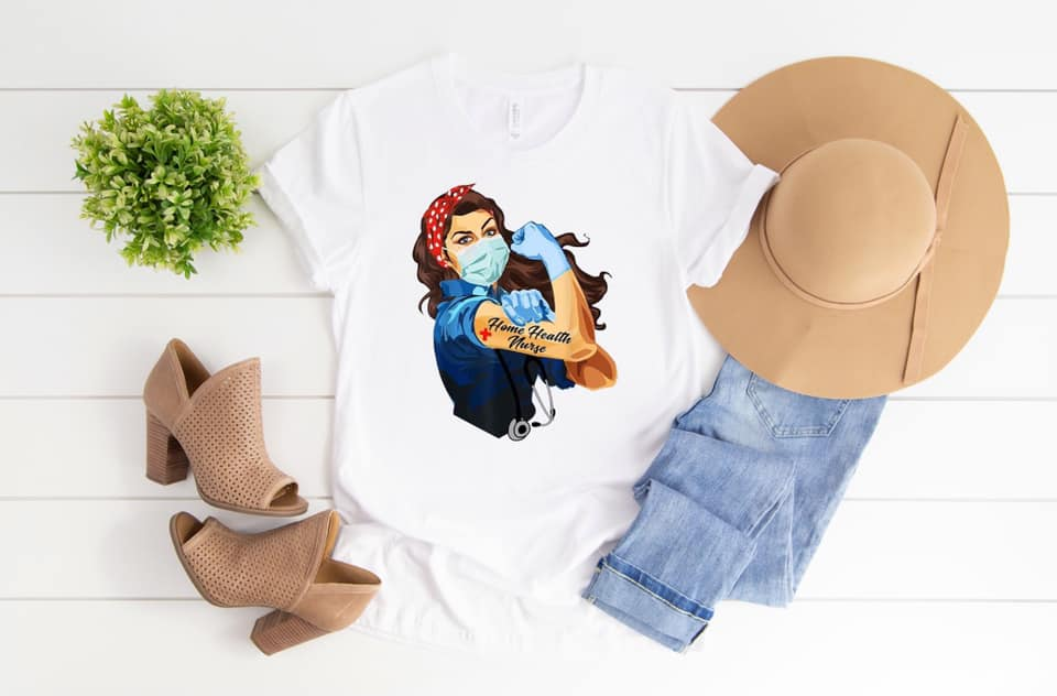 Home Health Nurse Rosie White SS Boutique Tee - Custom Printed Preorder Tees