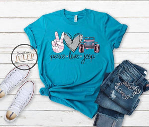 Peace Love Jeep Short Sleeve Boutique Tee - Custom Printed Preorder Tees