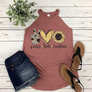 Peace Love Sunshine (Sunflower) Boutique Tank Top - Custom Printed Preorder Tees