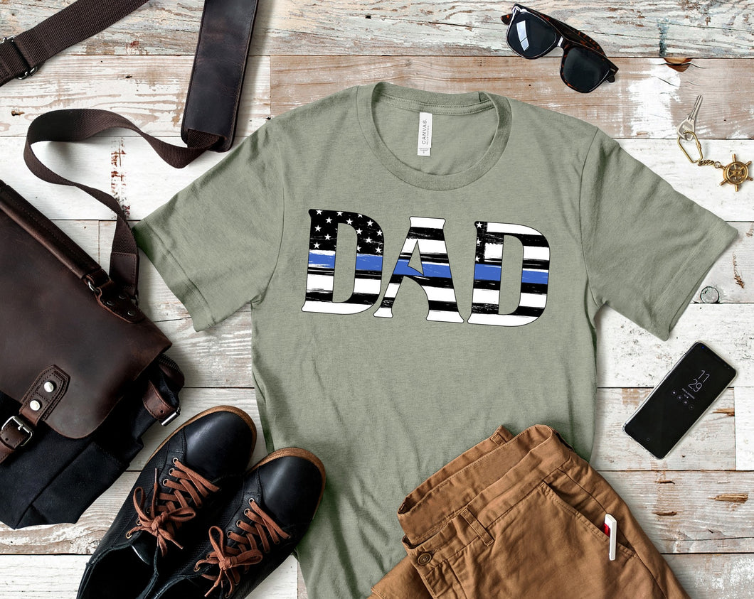 Blue Line US Flag Dad SS Boutique Tee - Custom Printed Preorder Tees