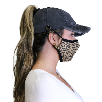 NEW CC Distressed Criss Cross Ponytail PonyCap w/ Side Button For Face Masks (Asst. Colors)