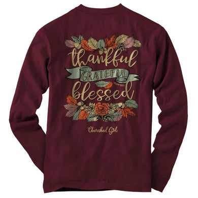 Cherished Girl® -Thankful, Grateful, Blessed Womens Long Sleeve Christian Tee