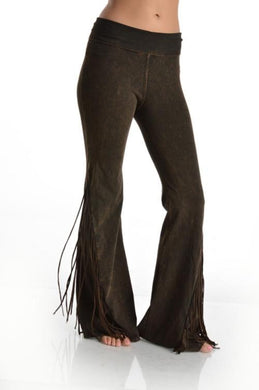Flared Mineral Washed Fringed Foldover Yoga Pants - Brown - Made In USA