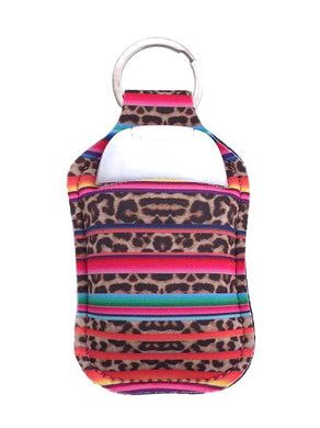 PREORDER - Leopard Serape Key Chain Hand Sanitizer Neoprene Holder