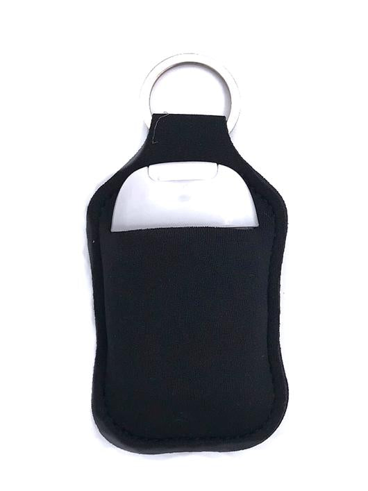 PREORDER - Black Key Chain Hand Sanitizer Neoprene Holder - Also Available In Store