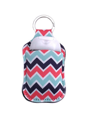 PREORDER - Chevron Key Chain Hand Sanitizer Neoprene Holder