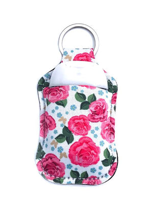 PREORDER - Pink Flowers Key Chain Hand Sanitizer Neoprene Holder