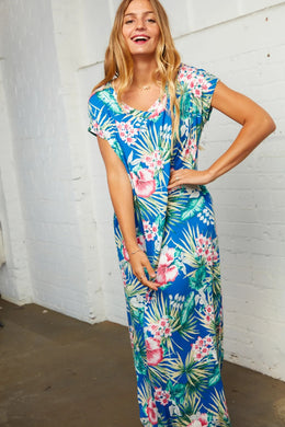 Kalua Blue Floral Print Maxi Dress - USA Made