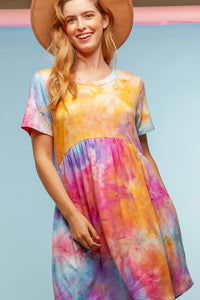 Tie Dye Pocketed Summer Babydoll Dress - USA Made - Orange/Purple/Blue