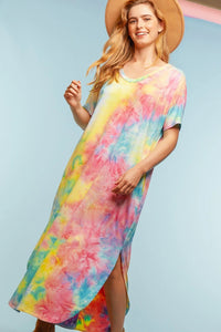 Tie Dye Pocketed Summer Sleeveless Maxi Dress - USA Made - Pink/Yellow/Mint