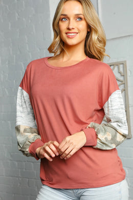 Mauve Color Blocked Knit Top w/ Drop Shoulder Balloon Sleeves  - USA MADE