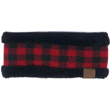Adult CC Beanie Sherpa Lined Buffalo Plaid Headband - HW17