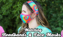 Load image into Gallery viewer, Adults Tie Dye Primary Colors Headband for Face Mask - Girlie Girl Brand