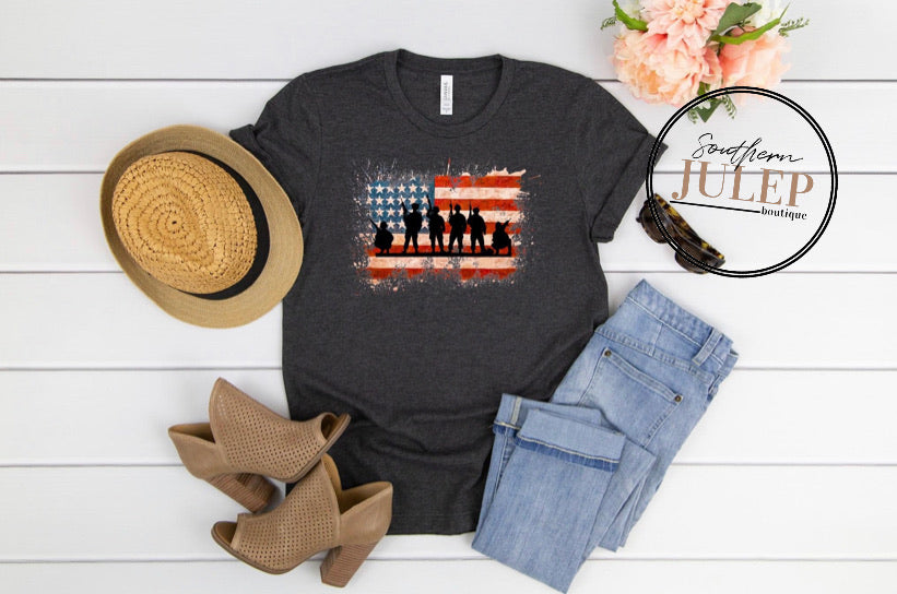 USA Flag Armed Forces SS Boutique Tee - Custom Printed Preorder Tees
