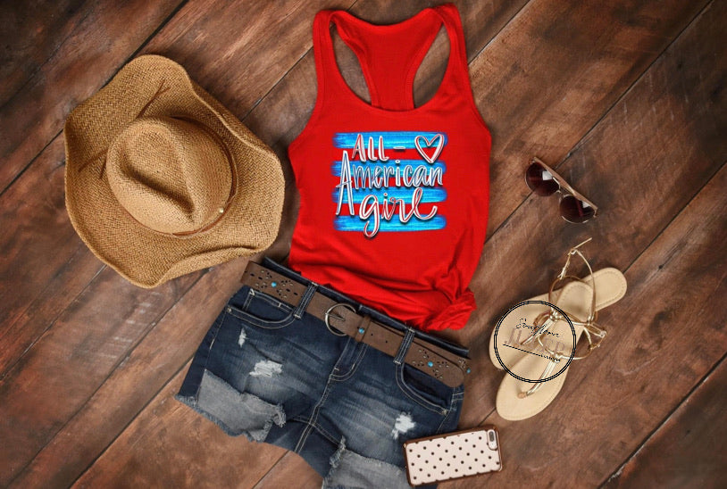 All American Girl Boutique Tank Top - Custom Printed Preorder Tees
