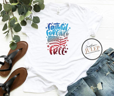 Faithful Forgiven Free Star & Stripes White SS Boutique Tee - Custom Printed Preorder Tees