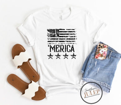 'MERICA American Flag White SS Boutique Tee - Custom Printed Preorder Tees