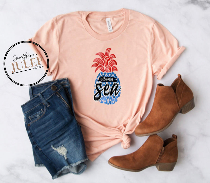 Vitamin Sea Pineapple 4th of July SS Boutique Tee - Custom Printed Preorder Tees