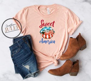 Sweet America Lips & Tongue Stars & Stripes SS Boutique Tee - Custom Printed Preorder Tees