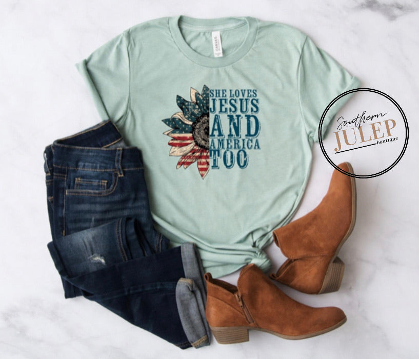 She Loves Jesus and America Too SS Boutique Tee - Custom Printed Preorder Tees