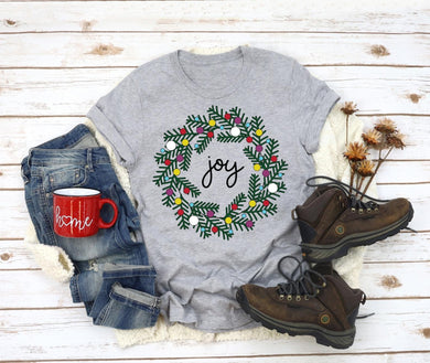 PREORDER-Joy Christmas Wreath Boutique Soft Tee